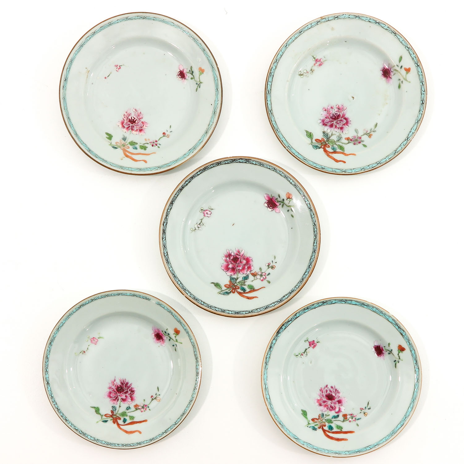 A Series of 5 Famille Rose Plates