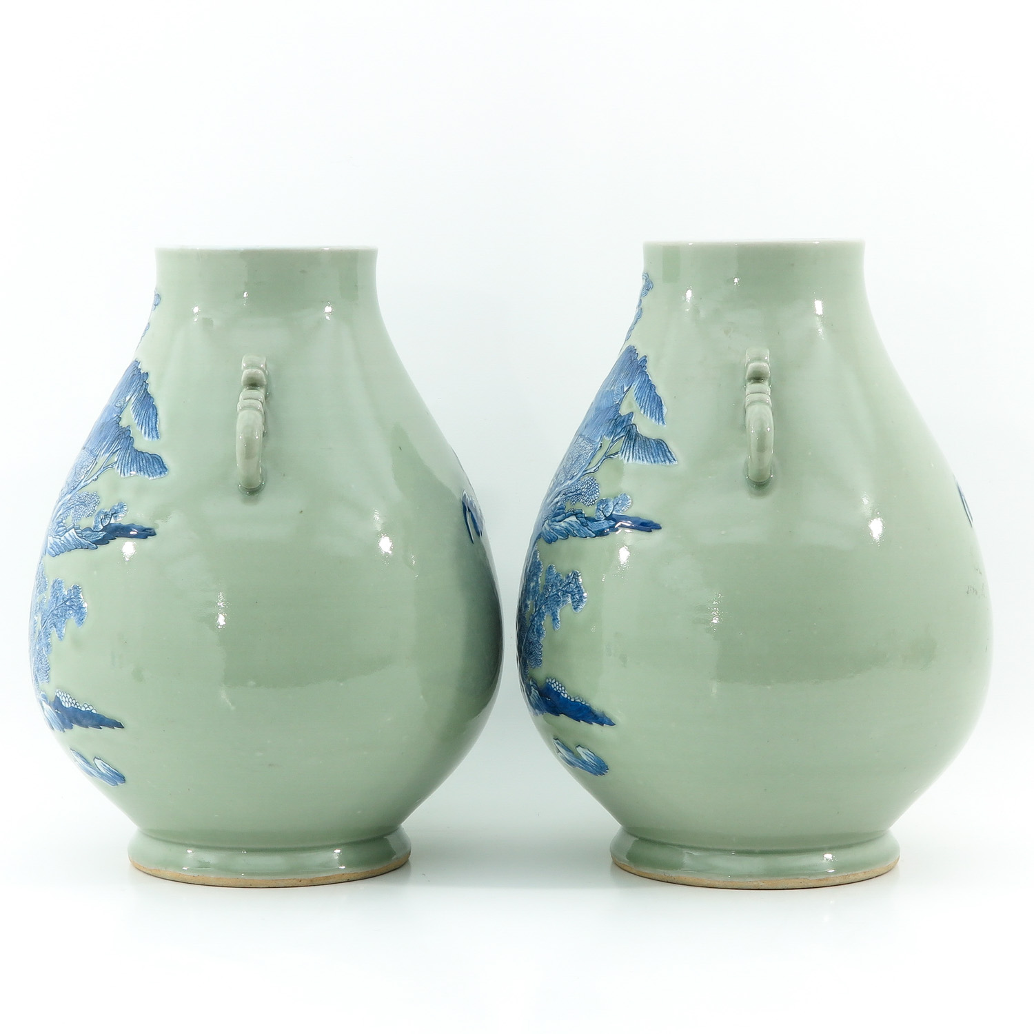 A Pair of Celadon and Blue Hu Vases - Image 2 of 10
