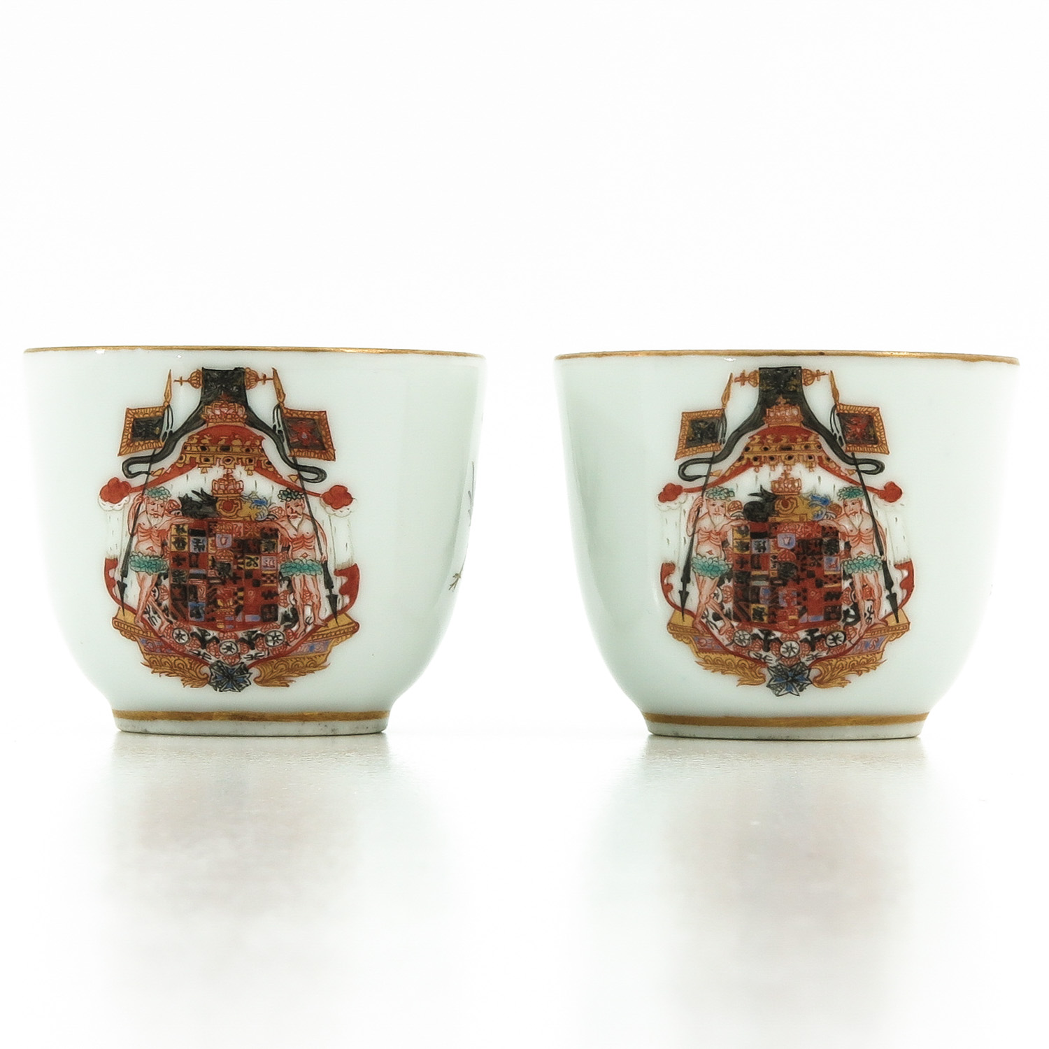 A Pair of Polychrome Decor Cups - Image 4 of 9