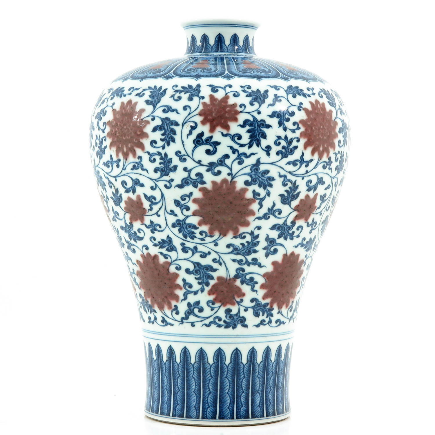 An Iron Red and Blue Decor Meiping Vase - Image 4 of 10