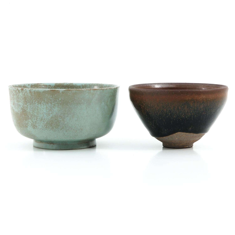 A Hare Fur Tea Bowl and Celandon Bowl