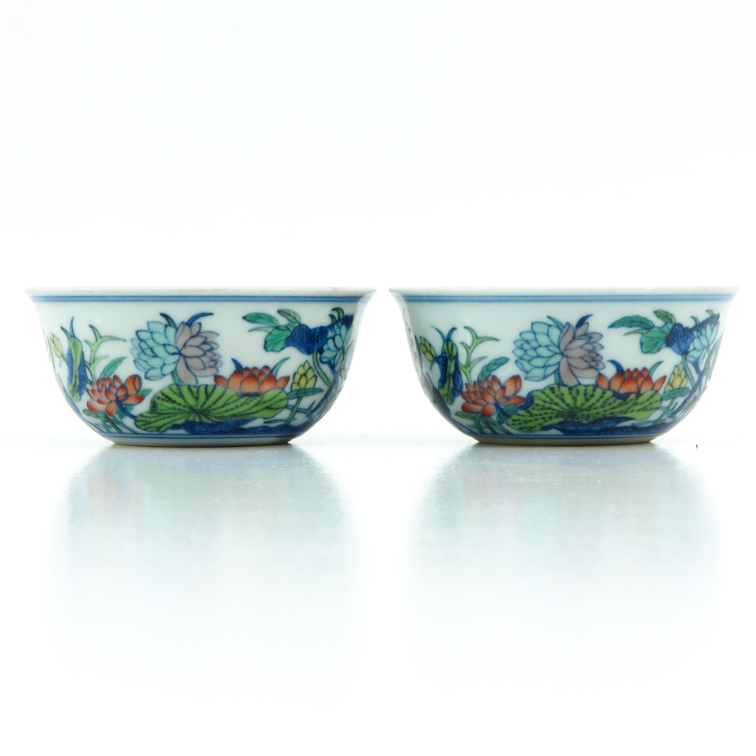 A Pair of Doucai Decor Cups - Image 3 of 10