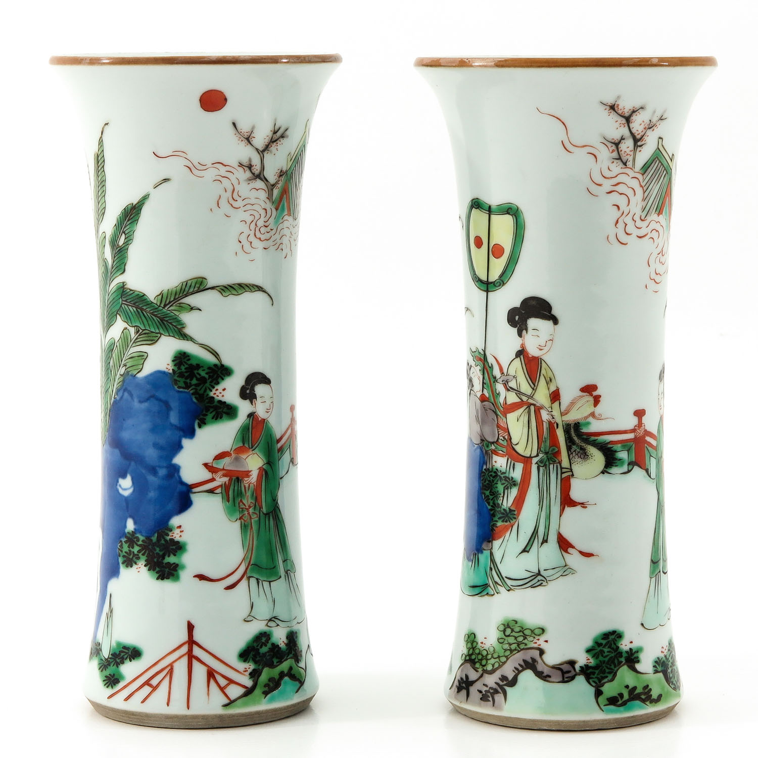 A Pair of Famile Verte Vases - Image 4 of 9