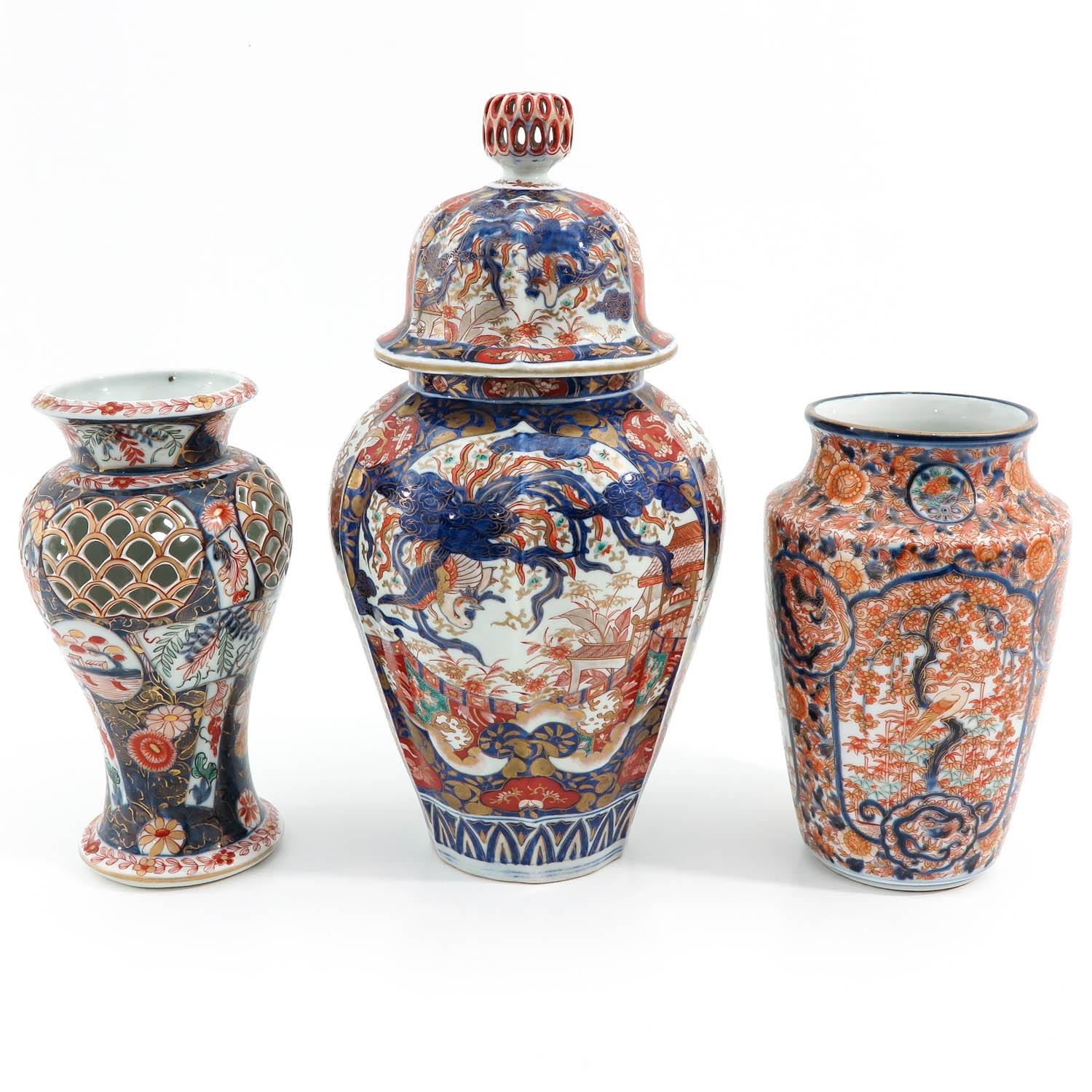 A Collection of 3 Imari Vases