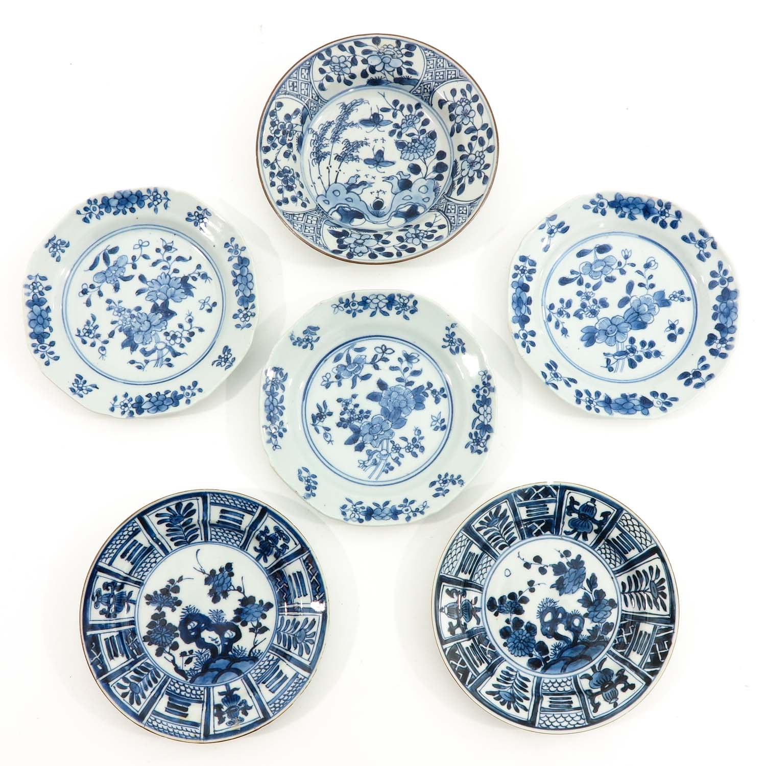 A Collection of 6 Blue and White Plates