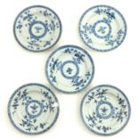 A Collection of 5 Blue and White Plates