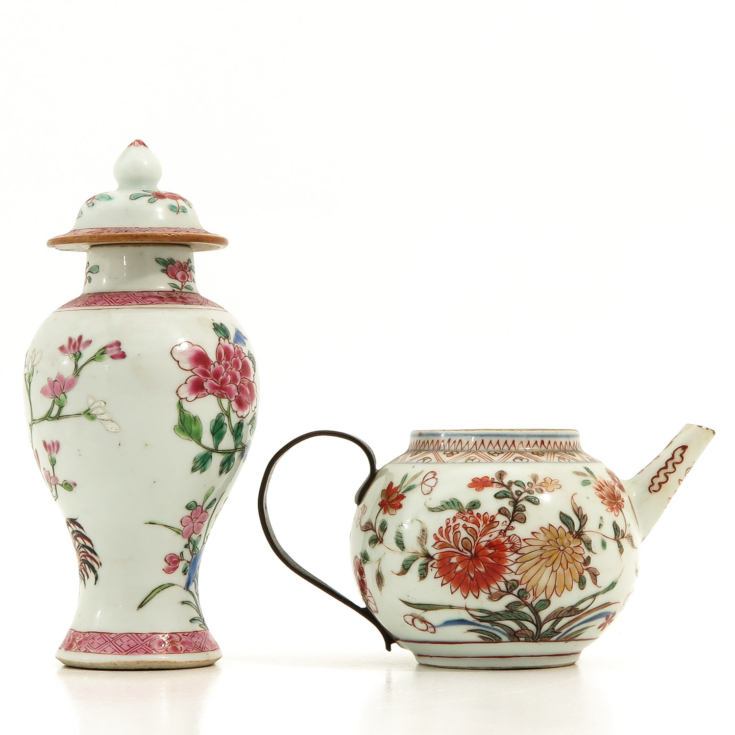 A Famille Rose Vase and Teapot - Image 3 of 9