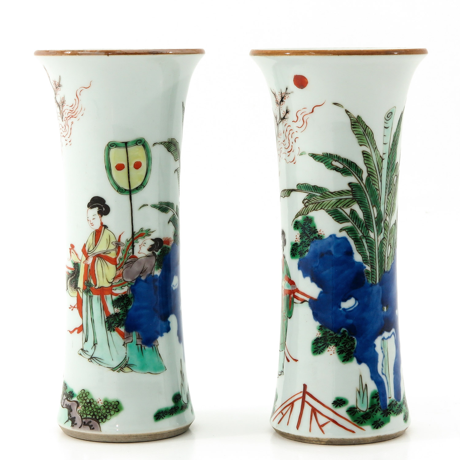 A Pair of Famile Verte Vases - Image 2 of 9