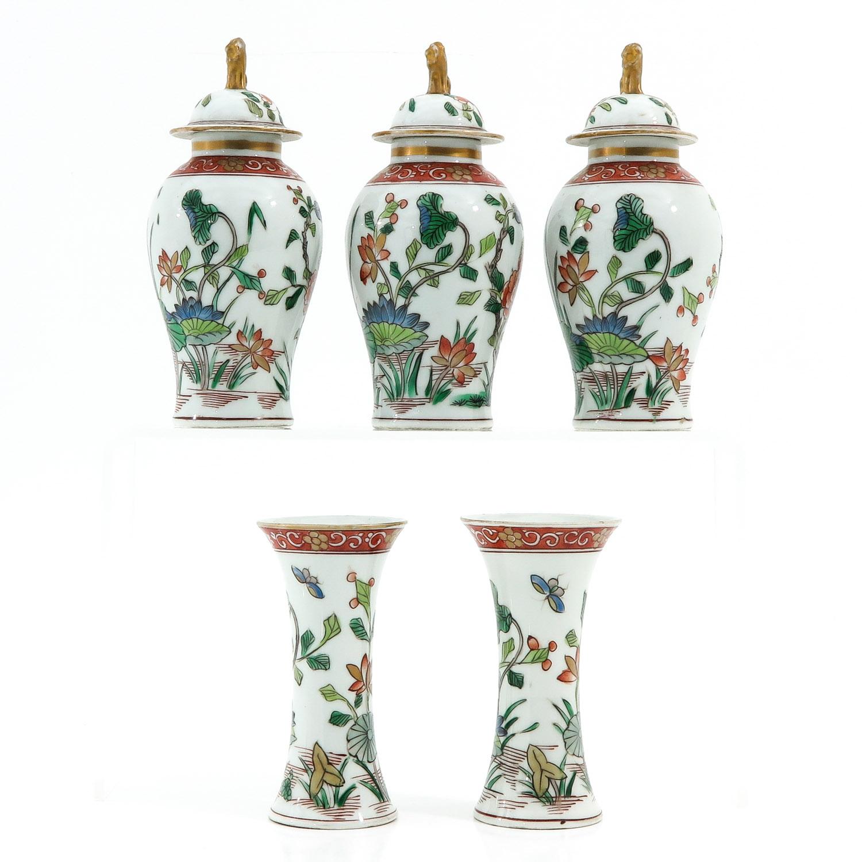 A Set of 5 Garniture Vases - Image 4 of 9