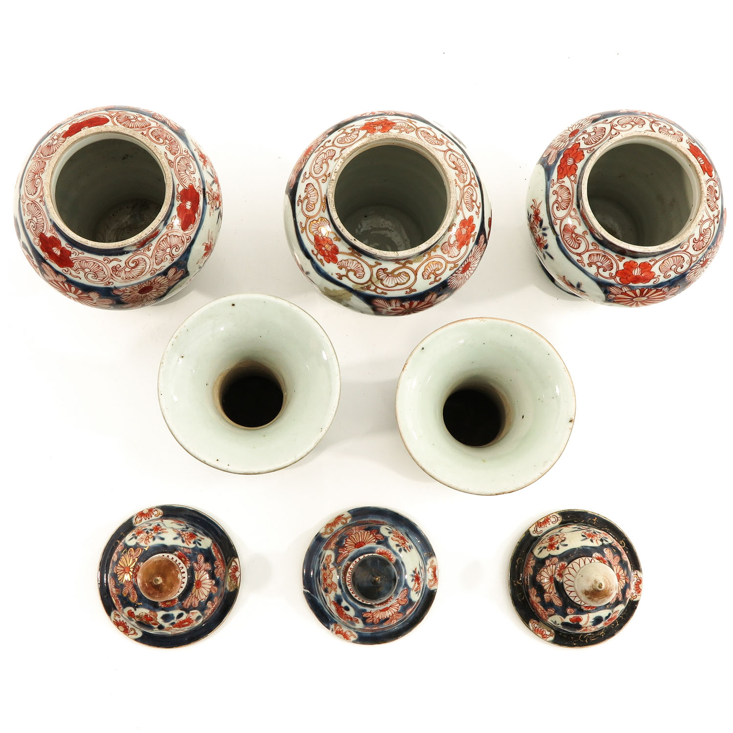 A 5 Piece Imari Garniture Set - Image 5 of 9