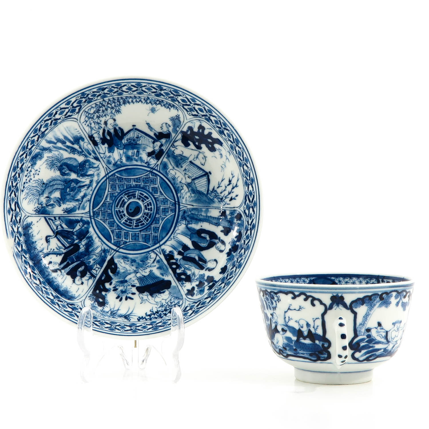A Blue and White Cup and Saucer - Image 2 of 9