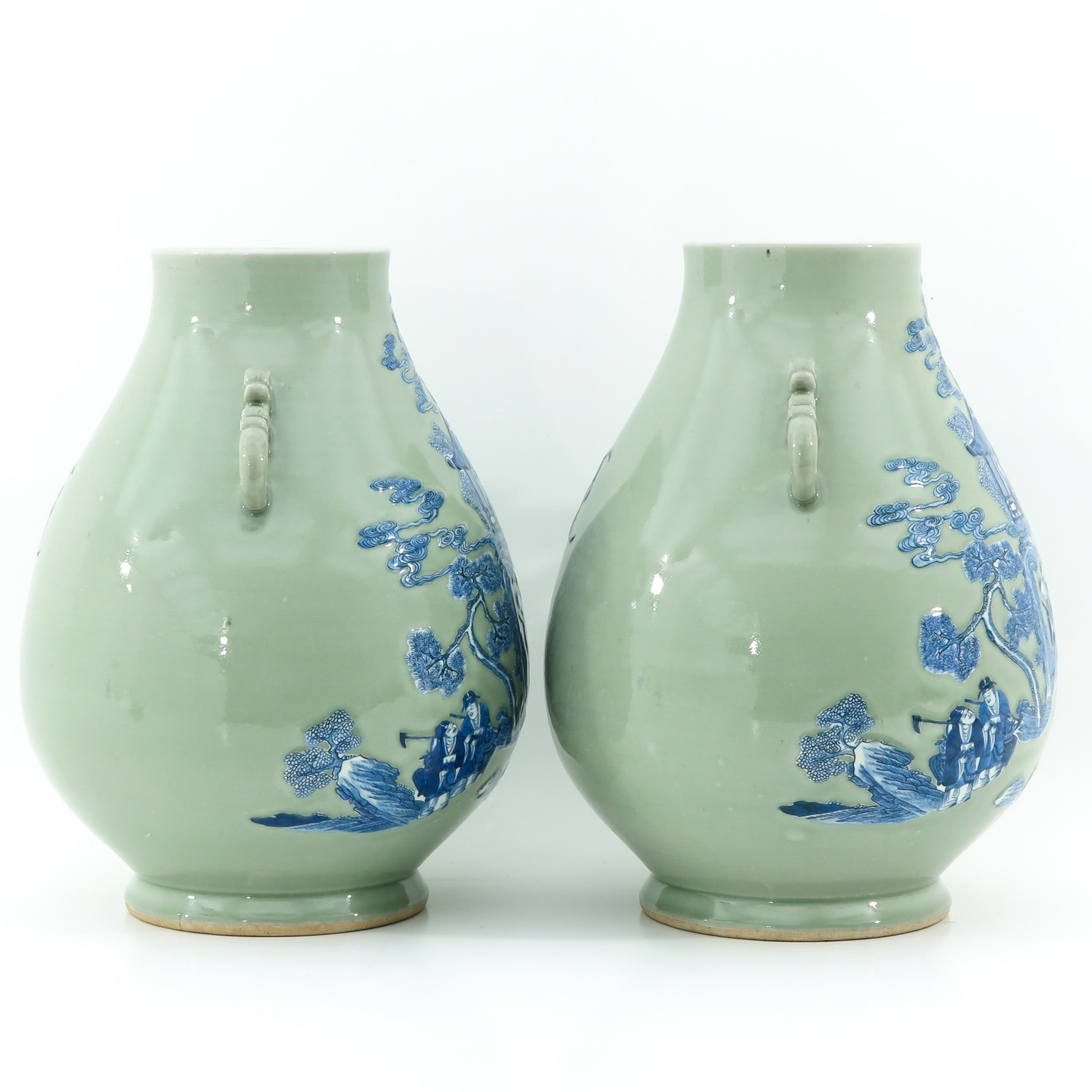 A Pair of Celadon and Blue Hu Vases - Image 4 of 10