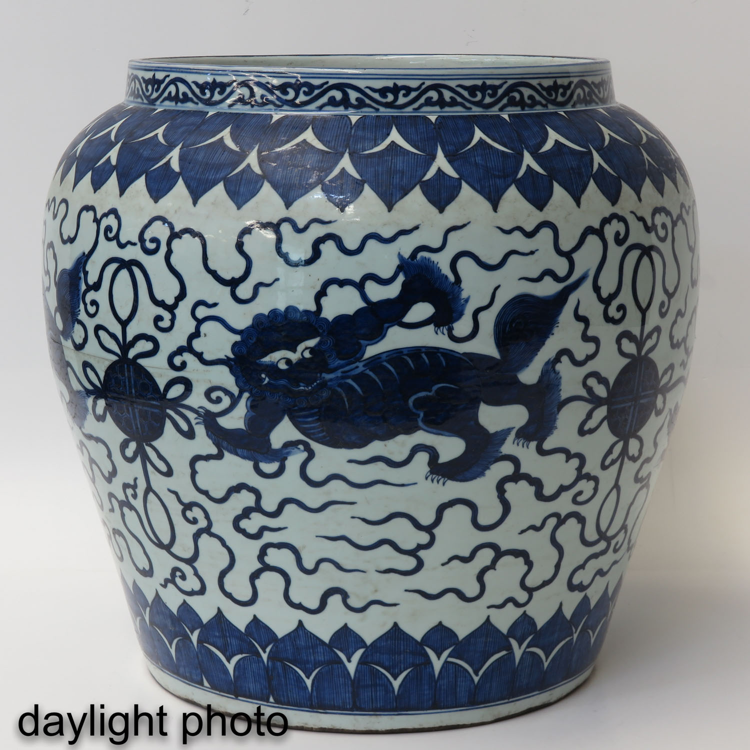 A Large Blue and White Planter - Image 7 of 10
