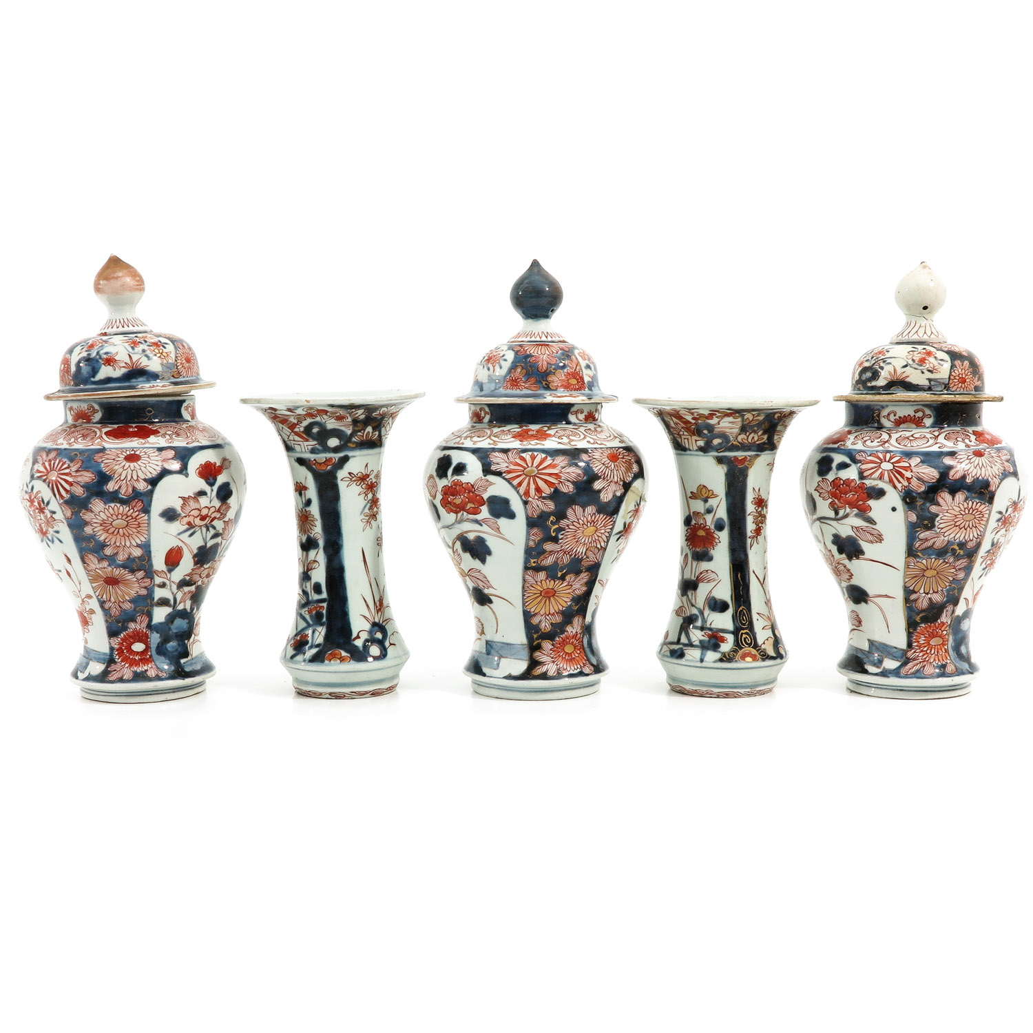 A 5 Piece Imari Garniture Set - Image 2 of 9