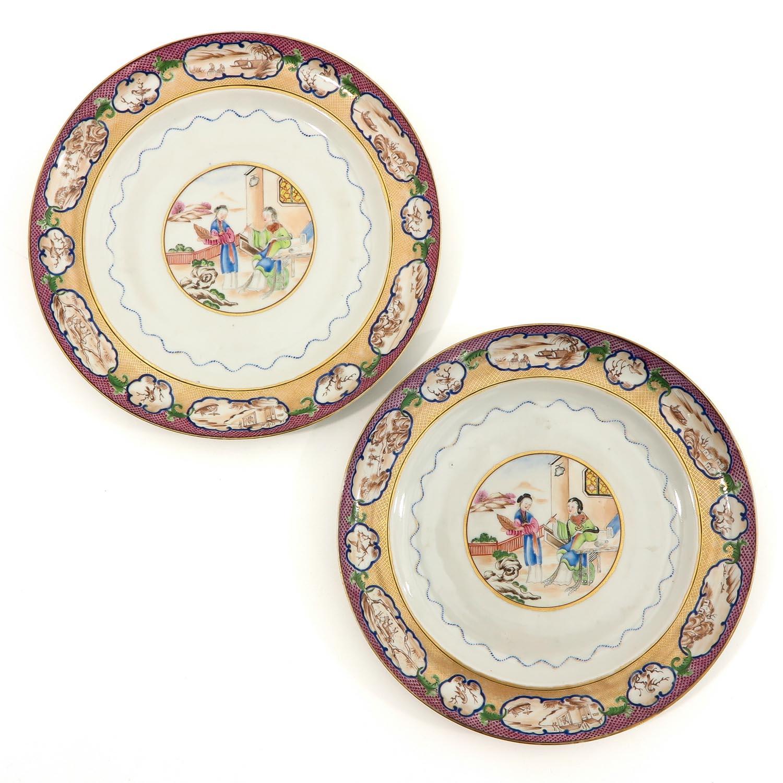 A Pair of Polychrome Decor Plates