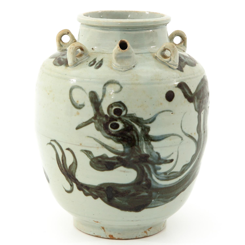 A Blue and White Stoneware Kruik