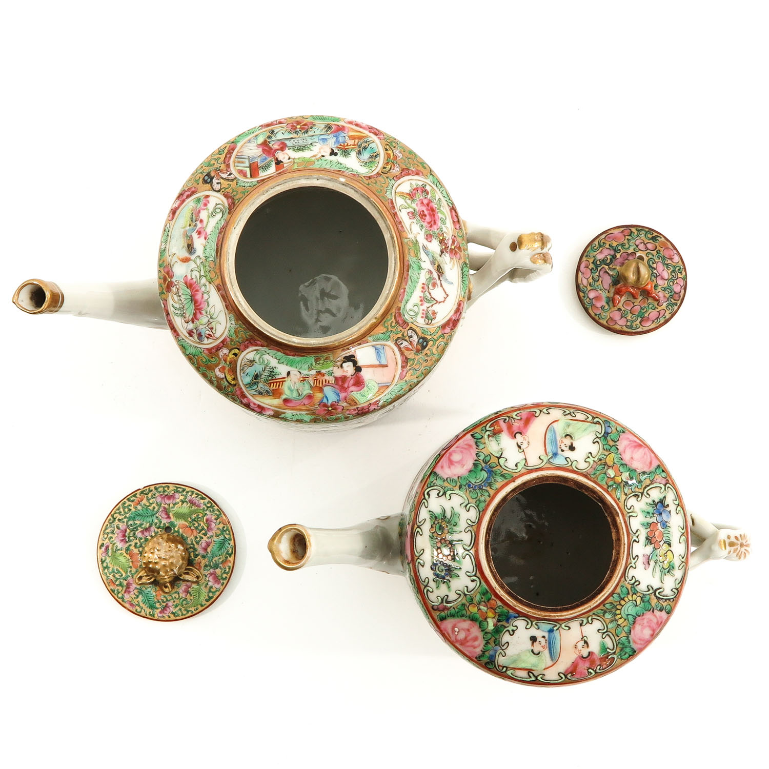 A Lot of 2 Cantonese Teapots - Image 5 of 9