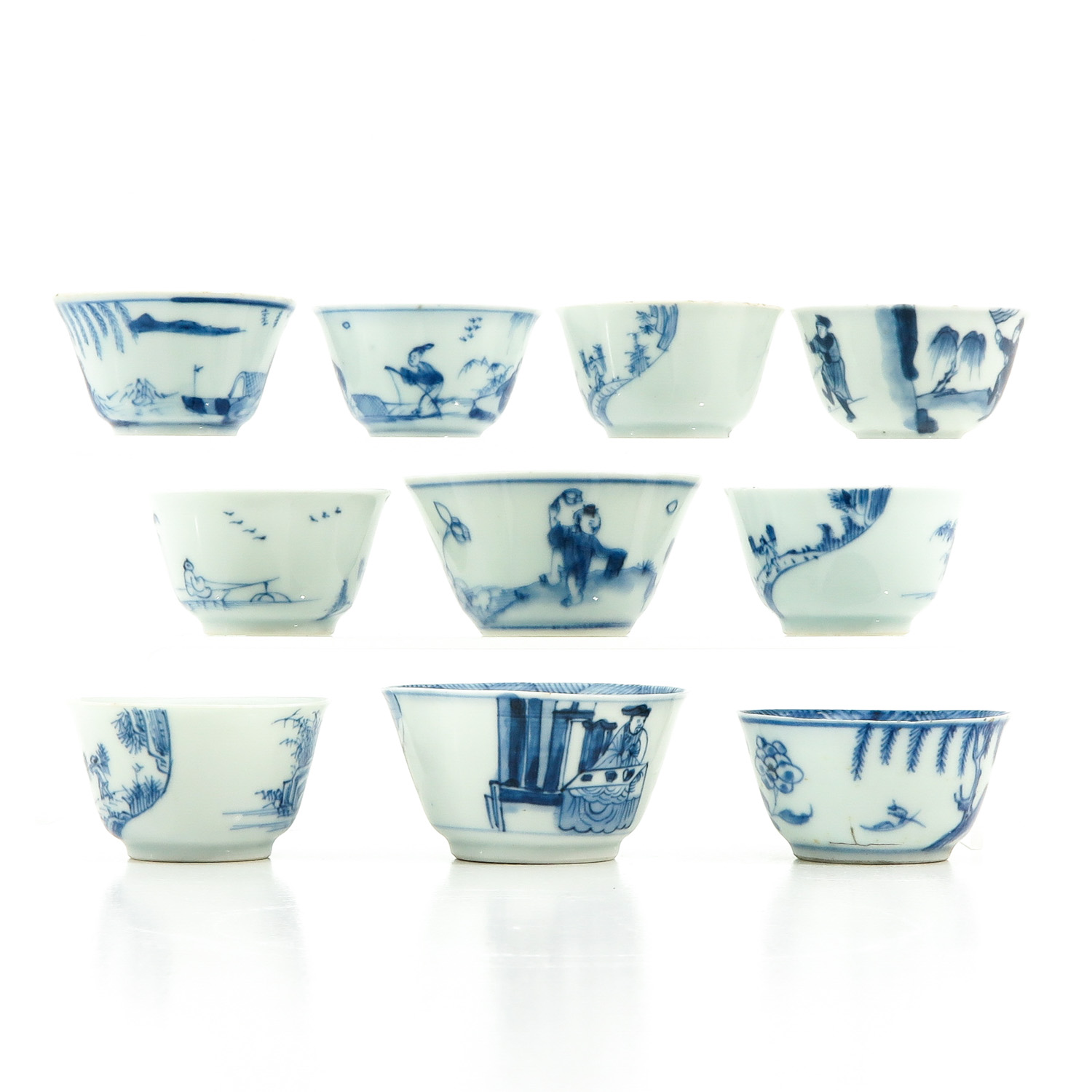 A Collection of 10 Blue and White Cups - Image 4 of 10