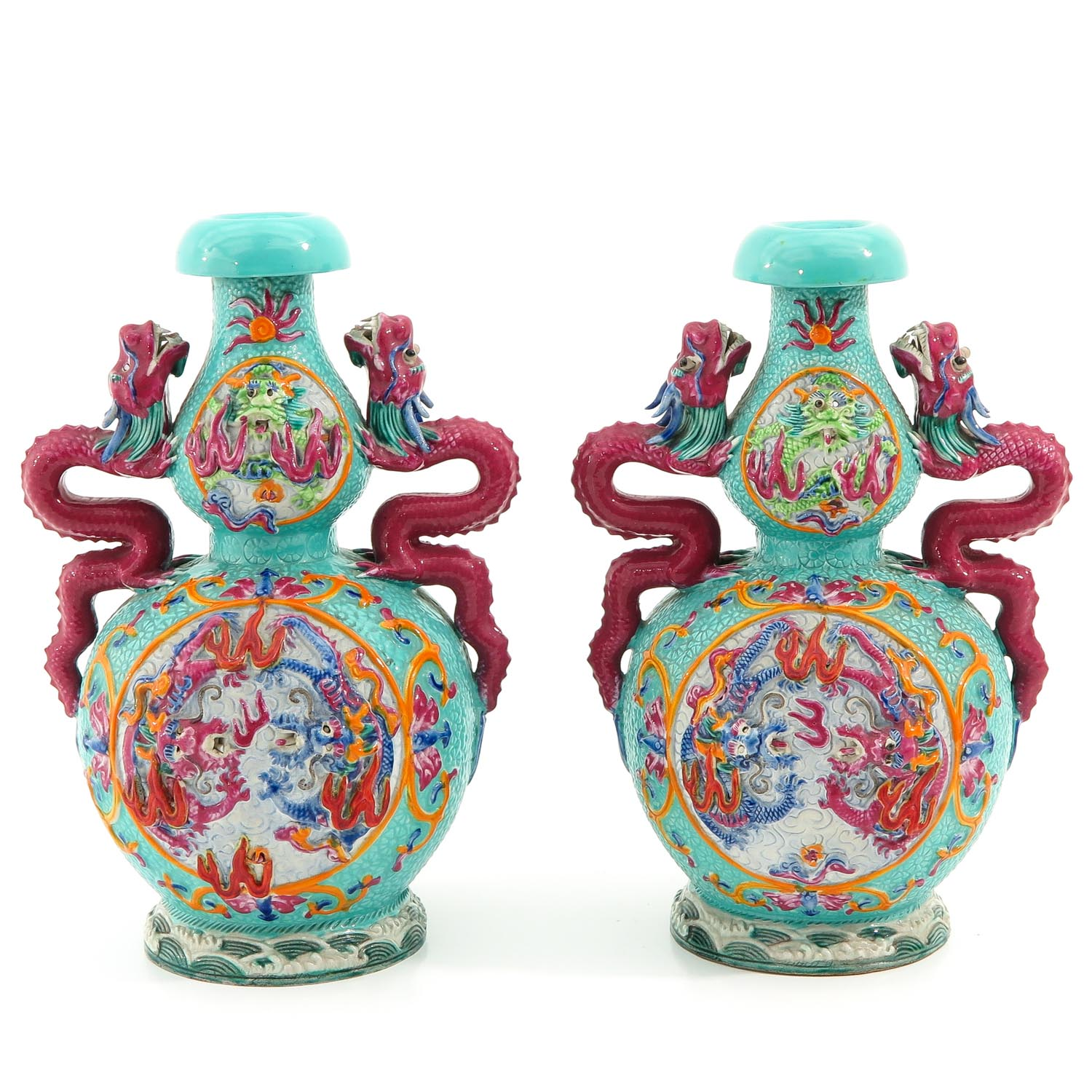 A Pair of Famille Rose Vases - Image 3 of 10