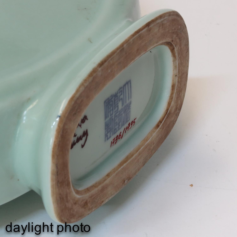 A Celadon Moon Bottle Vase - Image 8 of 10