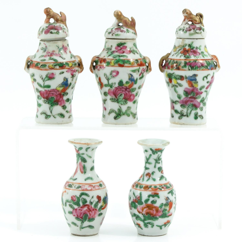 A Cantonese Miniature Garniture Set
