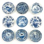 A Collection of 9 Blue and White Plates