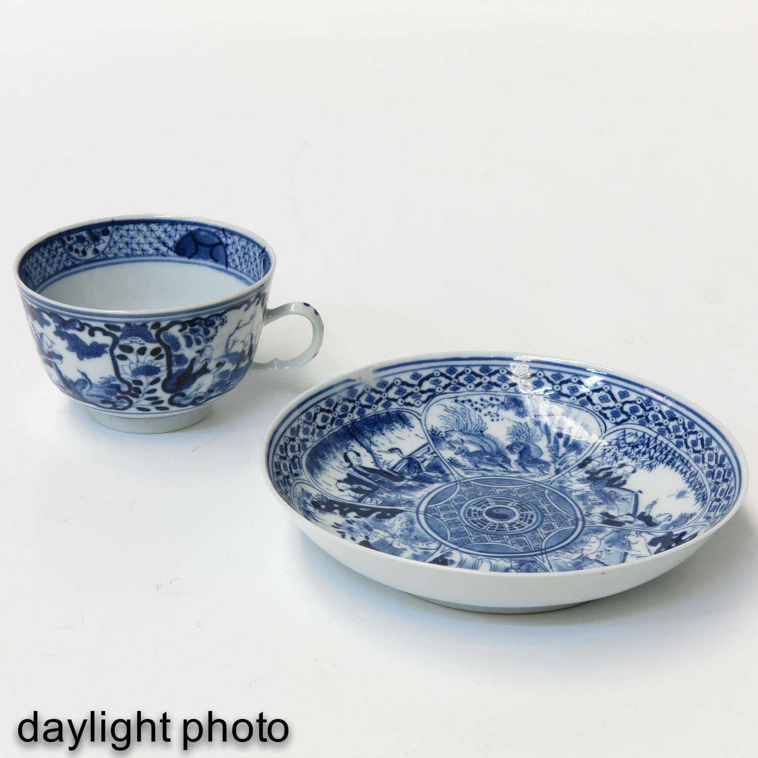 A Blue and White Cup and Saucer - Image 7 of 9