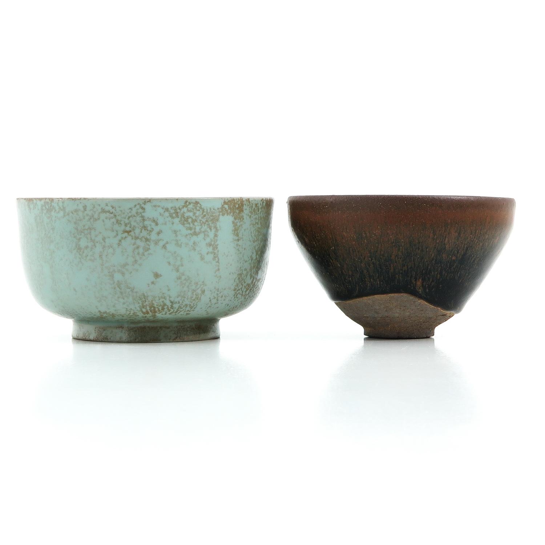 A Hare Fur Tea Bowl and Celandon Bowl - Image 3 of 10