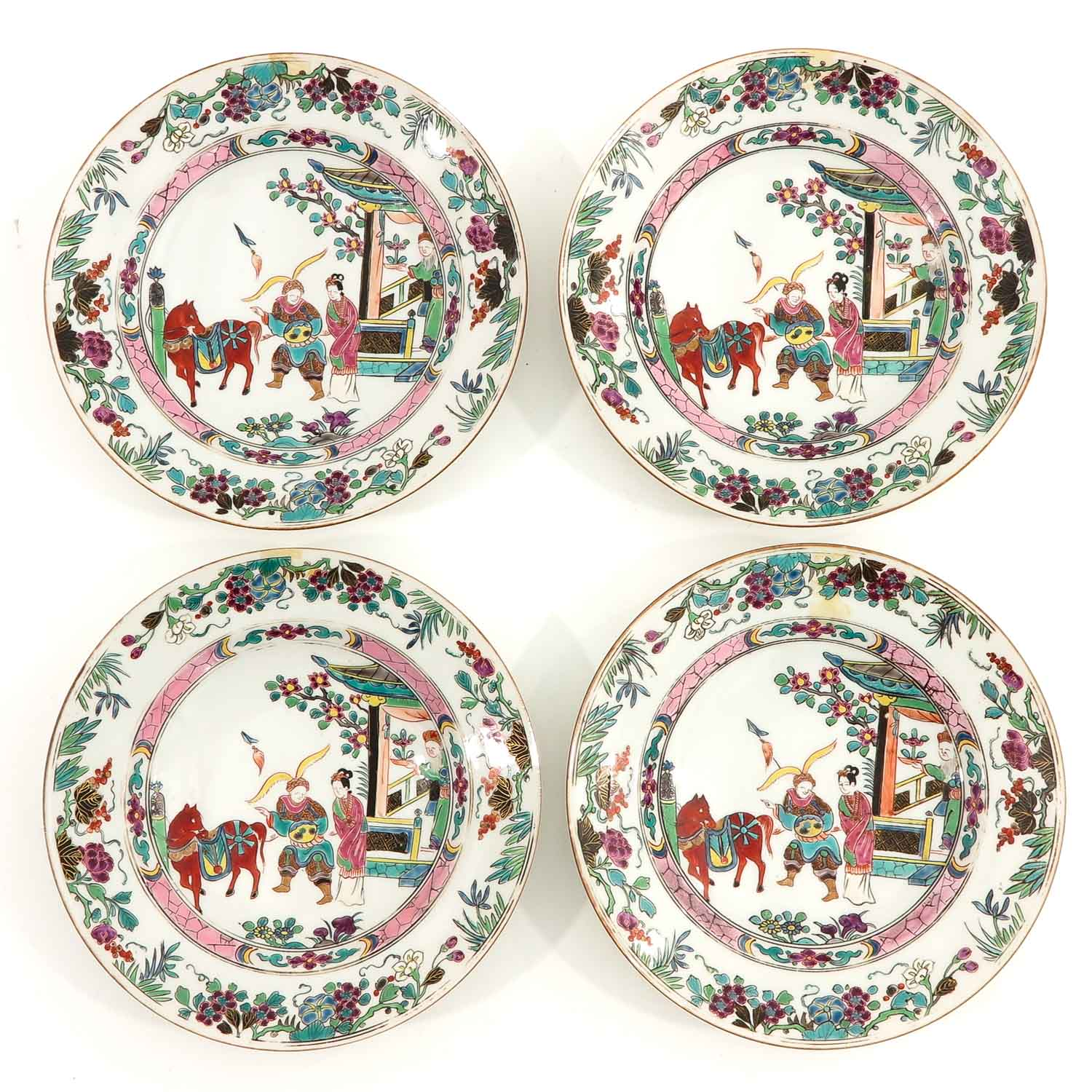 A Series of 4 Famille Rose Plates