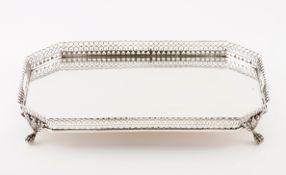 A galleried trayPortuguese silver Plain rectangular centre of cut corners Pierced gallery geomet