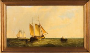 Portuguese school, 19th centuryA Marine painting Oil on canvas30x56,5 cm
