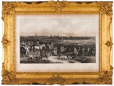 """""""The Meeting of her Majesty's Stag hounds on Ascot Heath""""Black print on paper Drawn by Francis G"""