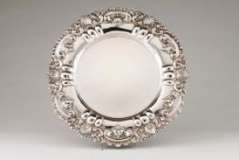 A large salverPortuguese silver Plain centre and wide lip of winglet, shell, floral and acanthus