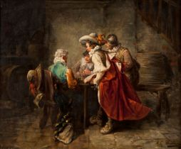 An interior scene with musketeers