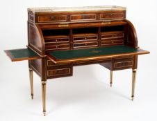 A Louis XVI style roll top desk