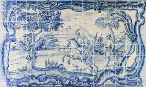 Hunting scenePanel comprising 112 tiles, baroque frame Portugal, 18th century (restorations)