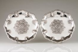 A pair of suspending salversSilver Raised central rose decoration, scalloped and grooved lip eng