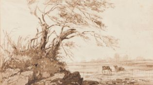 Tomás da Anunciação (1818-1879)A landscape with tress, lake and drinking cattleWatercolour on pa