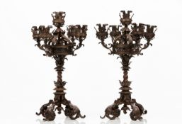 A pair of neo-gothic candelabra