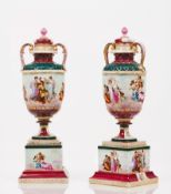 A pair of urns with covers
