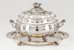 A tureen with cover and trayPortuguese silver Oval shaped body of wide gadroons with fruit band
