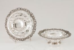 A pair of basketsPortuguese silver Fruits pierced decoration and scalloped lip of raised foliag