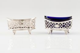 A pair of mustard potsPortuguese silver, 1st-half 19th century Boat shaped of pierced decoration