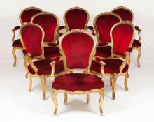A set of eight Louis XVI style fauteuils