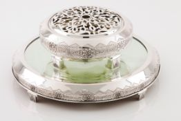 An Art Deco flower bowl with standPortuguese silver Circular shaped of geometric and rose decora