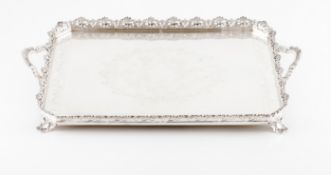 A galleried trayPortuguese silver Rectangular shaped of cut corners with engraved and chiselled