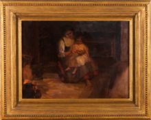 Joaquim Lopes (1886-1956)An interior scene with a lady and a girlOil on panel Signed29x3