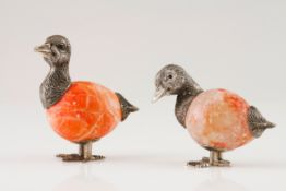 A pair of ducksSilver and hard stone Moulded and engraved sculpture with applied glass eyes Rabb