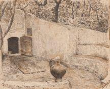 "Ernesto Condeixa (1858-1933)""A Fonte da Samaritana - Bellas""Chalk and ink on paper Signed<br"
