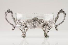 A plateau/flower bowlPortuguese silver Lozenge shaped body of pierced and raised Romantic era de